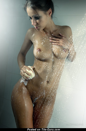 Exquisite Wet Red Hair with Exquisite Naked Real Medium Breasts (Porn Image)