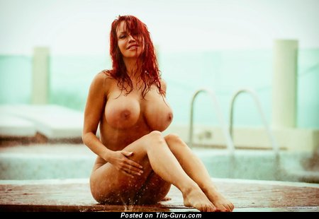 Sweet Wet Red Hair with Sweet Bare Vast Titties in the Pool (Hd Xxx Photo)