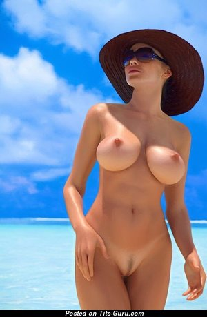 Good-Looking Glamour Playboy Blonde Girlfriend with Good-Looking Defenseless Natural Firm Boobie on the Beach (Porn Image)