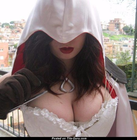 Babi Lombardo - Good-Looking Non-Nude Brunette Nerd with Good-Looking Natural Very Big Tittys is Undressing (Amateur Cosplay Sexual Pic)