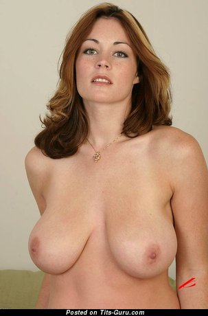 Perfect Topless Red Hair with Perfect Naked Real Med Titties & Erect Nipples (Porn Picture)