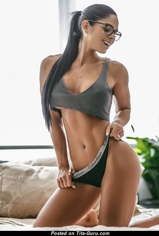 Unknown Beauty - Charming Glamour & Topless Playboy Brunette Babe with Puffy Nipples, Sexy Legs in Lingerie is Doing Fitness (Porn Foto)