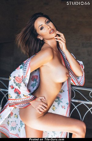 Image. Cara Steel - sexy topless brunette with fake boobs picture
