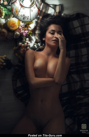 Pretty Topless & Glamour Brunette with Pretty Bald Firm Breasts & Puffy Nipples (Hd Sexual Photo)