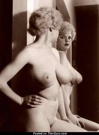 Cute Miss with Magnificent Bald Real Mega Tittes (Vintage Porn Photo)