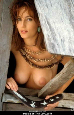 Shannon Long - Sexy Topless Australian Brunette Babe with Sexy Exposed Natural Medium Chest & Enormous Nipples (Vintage Porn Photo)