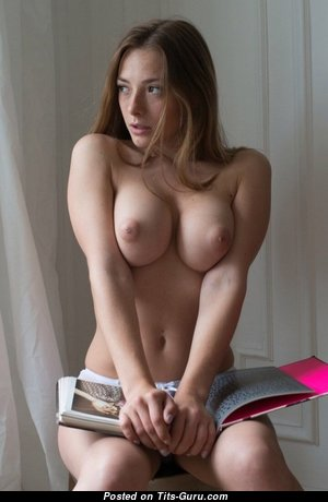 Dazzling Brunette with Dazzling Nude Medium Tots & Puffy Nipples (Sexual Image)