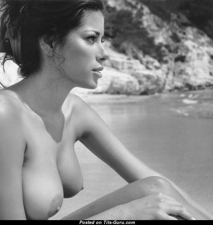 Wonderful Topless Brunette Babe with Wonderful Naked Natural D Size Tots on the Beach (Hd Xxx Photoshoot)