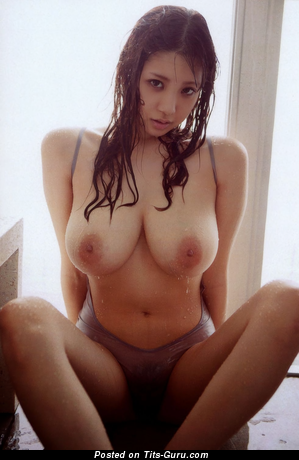 Shion Utsunomiya - wet topless asian brunette with medium natural tots and big nipples pic
