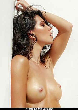 Sexy naked brunette with natural tittes image