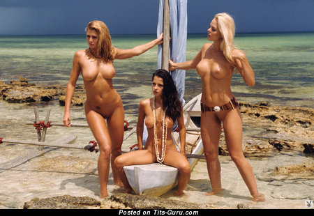 Delightful Brunette & Blonde with Delightful Naked Med Knockers on the Beach (Hd Sexual Pix)