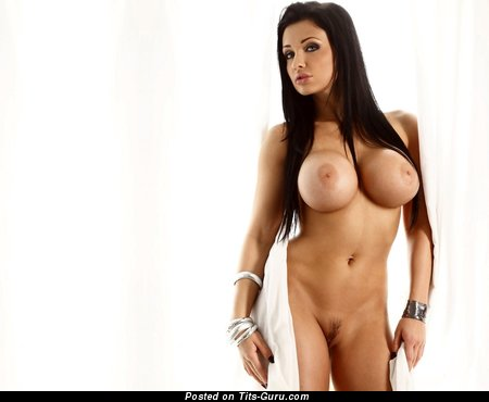 Image. Charley Atwell - sexy topless brunette with big fake boobies and big nipples photo