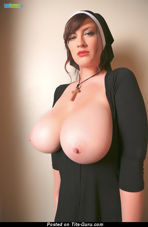 Image. Lana Kendrick - sexy nude brunette with huge natural boobies and big nipples photo