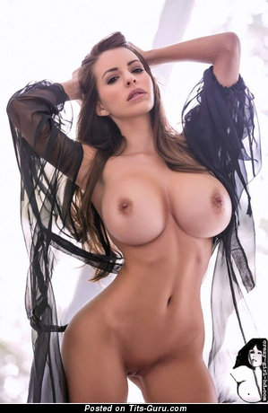Gorgeous Topless Playboy Brunette Babe with Gorgeous Bald Full Boobys & Erect Nipples (Home Selfie Xxx Pix)