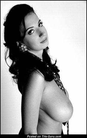 Image. Jana Defi - brunette with huge natural boob photo