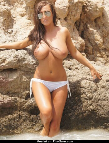 Image. Stacey Poole - topless brunette with big natural tots image