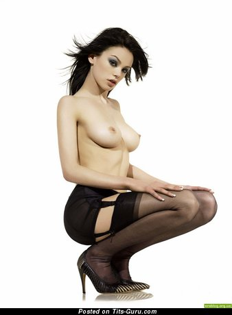 Sexy Brunette with Sexy Naked Real Medium Jugs in Stockings (Porn Foto)