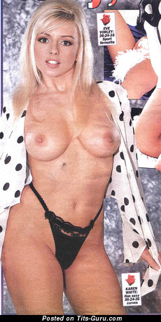 Изображение. Karen White - фотография горячей раздетой девахи с среднего размера натуральными дойками ретро