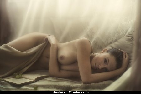 Image. Sexy topless amateur amazing woman with medium natural boobies photo