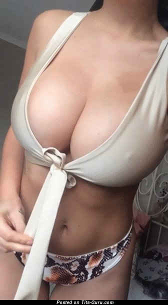Good-Looking Brunette Shaking Yummy Naked Natural Mega Boobies (Xxx Gif)