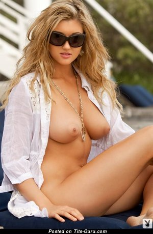 Image. Katie Vernola - sexy topless blonde with medium natural boobs and big nipples photo