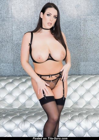 Angela White - Nice Australian Pornstar & Babe with Nice Defenseless Real Great Tots & Big Nipples in Stockings (Sex Photoshoot)