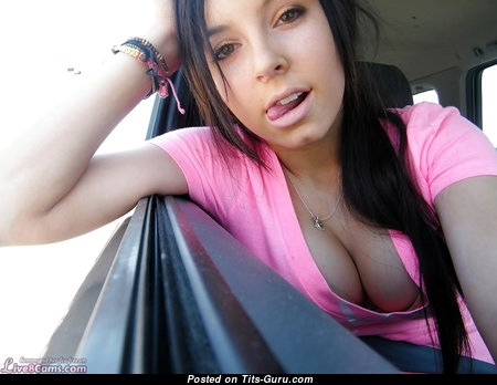 Awesome Undressed Brunette Babe (on Public Selfie Hd Porn Wallpaper)