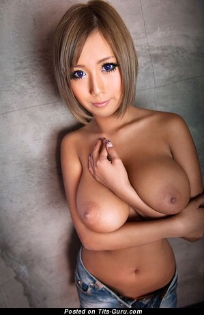 Nao Tachibana - naked asian red hair with medium natural boobs and big nipples picture