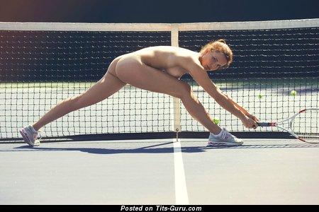 Adorable Bimbo with Adorable Bald Microscopic Jugs is Playing Tennis (Hd Xxx Wallpaper)