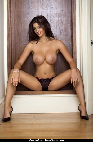 Charming Topless & Glamour Brunette Babe with Charming Naked Regular Hooters, Huge Nipples, Sexy Legs in High Heels & Panties (Porn Image)