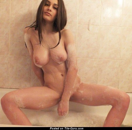 Stunning Topless & Wet Babe with Stunning Bare Real Medium Boobys (on Public Sex Picture)