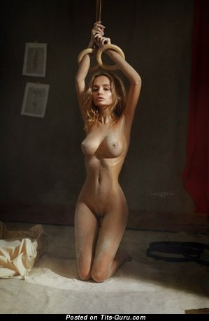 Image. Sexy nude blonde with medium natural breast and big nipples picture