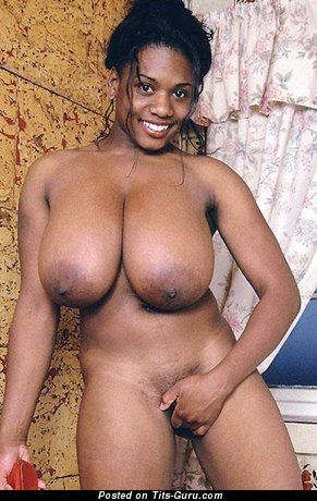 Image. Naked ebony with huge natural boob picture