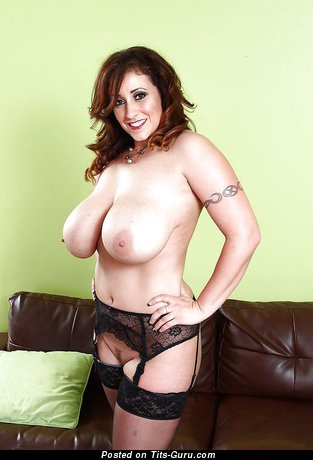 Image. Sexy nude brunette with big natural tits and tattoo photo