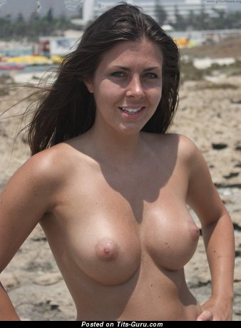 Image. Lisa - topless brunette with big natural tittys image