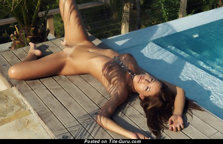 Perfect Woman with Perfect Naked Natural Dd Size Boob in the Pool (Hd Porn Photo)