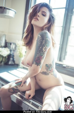 Marvelous Topless Lassie with Marvelous Exposed Real Medium Sized Chest & Tattoo (Hd Sexual Picture)