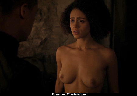 Natalie Emmanuelle - Sexy Topless & Wet Ebony Brunette with Sexy Exposed Natural Paltry Boob, Big Nipples, Piercing (Hd 18+ Image)