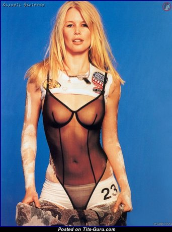 Claudia Schiffer - Marvelous Non-Nude & Glamour German Blonde Babe with Marvelous Real Medium Boobs & Erect Nipples in Shorts & Lingerie (Hd 18+ Picture)