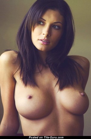 Image. Naked brunette with big natural tittys image