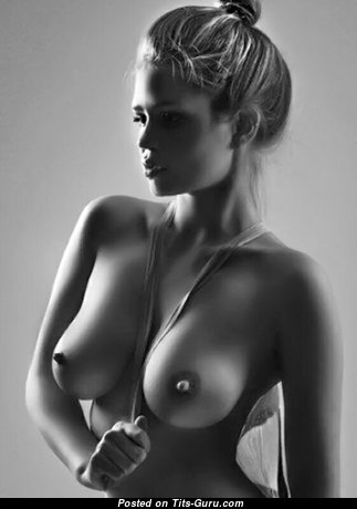 Awesome Topless Blonde with Awesome Defenseless Natural Medium Jugs & Big Nipples (Porn Pic)
