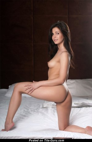 Image. Naked brunette with small natural boobs photo