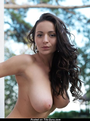 Image. Naked brunette with big natural breast and big nipples photo