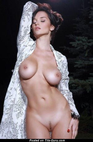 Image. Sexy topless brunette with medium natural tits image