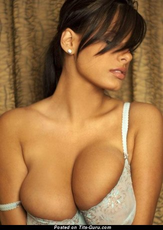 Image. Sexy brunette with big natural breast pic