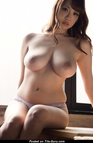 Rion - Superb Asian Babe with Superb Defenseless Natural Dd Size Knockers (Porn Photo)