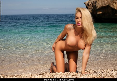 Good-Looking Blonde Babe with Good-Looking Exposed Round Fake Tittes on the Beach (Hd Sexual Image)