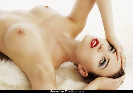Image. Nude beautiful woman with medium natural breast photo
