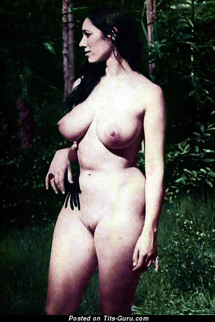 Angela Duncan - Amazing Topless Brunette Babe with Amazing Bald Natural Dd Size Titties (Vintage 18+ Image)