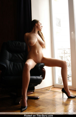 Karina B - Beautiful Glamour Ukrainian Blonde Babe with Beautiful Bare Real Tittes & Sexy Legs in High Heels (18+ Image)